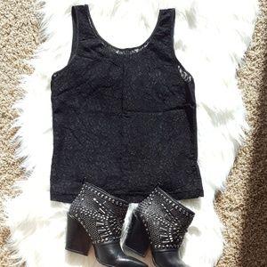 Tops - Black Sheer Lace Tank